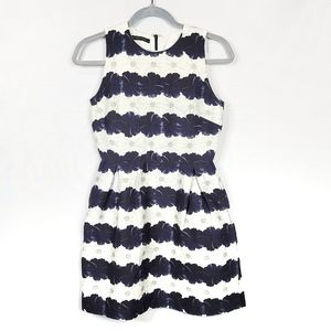 Mother of Pearl Fit and Flare Floral Striped Dress